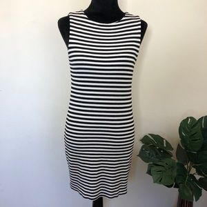 Zara knit black and white stripe tank dress